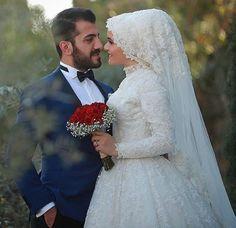 Hijabi Wedding, Muslim Wedding Dresses, Muslim Brides, Wedding Bride, Bridal Dresses, Wedding Colors, Wedding Styles, Bridal Hijab, Bride Veil