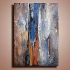 Pintura abstracta con textura original sobre lienzo contemporáneo moderno arte azul marrón pintura colgante de pared pared decoración decoración del hogar