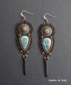 Bead embroidered earrings chrysocolla metal by JirikiDesigns, €50.00