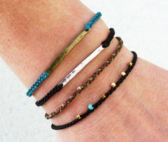 Braided friendship bracelet - waxed nylon with metal link bar