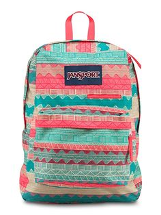 The new JanSport DigiBreak Backpack in Malt Tan Boho Stripe from the Digital Collection featuring a dedicated laptop sleeve.