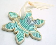 handmade clay snowflake ornament $8 by starless on etsy