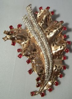 1948 Coro Craft Sterling & Rhinestone Figural Flower Leaf Brooch / Fur Clip #Corocraft