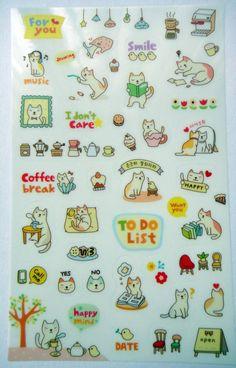 Cute Kitten Cat Plastic Stickers From Korea  by worldofkawaii