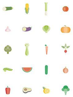 vegetables icons, Natural salads by Jose Álvarez Carratalá, via Behance