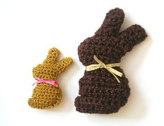 Twinkie chan made these adorably cute chocolate bunnies with Vanna's Glamour.  She also shared the crochet pattern so check it out!