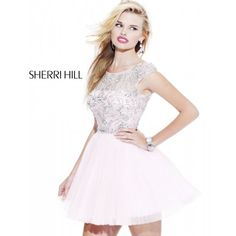Sherri Hill 2814 Embellished Pleated Babydoll Light Pink Prom Dress