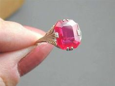 Antique Fancy Art Deco 10k White Gold Ruby Ring Size 7.25 STUNNING