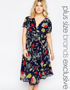 Image 1 of Alice & You Bright Floral Print Midi Skater Tea Dress