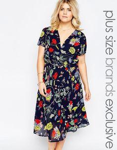 Image 1 ofAlice & You Bright Floral Print Midi Skater Tea Dress