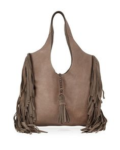 Farrah Leather Fringe Bag, Gray by Frye at Neiman Marcus.