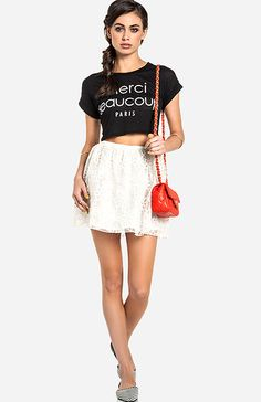 With white pants/jeans instead of the skirt