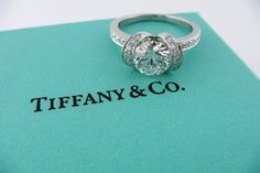 Tiffany & Co Platinum 1.11ct G VS1 Diamond + .30ct RIBBON Engagement Ring #TiffanyCo #SolitairewithAccents