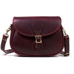 Oxblood Leather Shoulder Bag - Distressed Leather | J.W. Hulme Co. ($470) ❤ liked on Polyvore