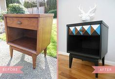 DIY Furniture Makeover Idea: Creative Idea to Save Your Old Furniture : Vintage Nightstand Makeover Decor, Diy Nightstand, Redo Furniture, Painted Furniture, Furniture Makeover Diy, Vintage Nightstand, Vintage Furniture, Nightstand Makeover, Mid Century Nightstand