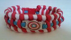 "CAPTAIN AMERICA PARACORD BRACELET RETRO RED WHITE BLUE CORD 8.5"" AVENGERS HEROES 550 Paracord, Retro Color, Paracord Bracelets, Red White Blue, Captain America, Avengers, Best Deals, Handmade, Capitan America"