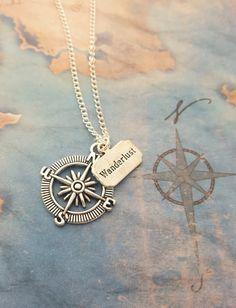 Compass Necklace, Wanderlust Necklace, Travel Jewellery, Silver Compass, Graduation Gift, Journey Necklace, Compass Pendant, Traveller Gift