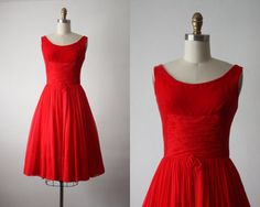 50s dress / red chiffon party dress