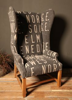 typography on a chair. this should be mine.