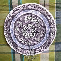 "3,5""zendala with tranzending.  #zentangle #art #abstract #inkart #doodle #design #draw #shading #lilymoon #lilystangles #floral #color  #tranzending #zendala #mandala"