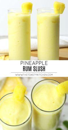 Pineapple Rum Slush - The Toasty Kitchen - Yummy Recipes Refreshing Drinks, Yummy Drinks, Healthy Alcoholic Drinks, Alcoholic Shots, Alcoholic Drinks For Breakfast, Blended Alcoholic Drinks, Alcoholic Slush, Yummy Food, Frose Rezept