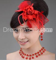 Gorgeous Red Net Headflower-YC