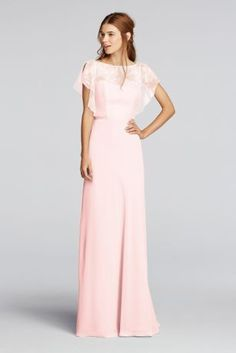 A delicate Chantilly lace flutter-sleeve bodice is paired with a floor-length chiffon skirt on this long bridesmaid dress. A thin ribbon accents the waistline.  Wonder by Jenny Packham- Exclusively at David's Bridal.  Cascading sleeves