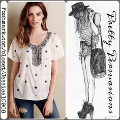 "NIP Maeve Anthropologie Beaded Embroidered Blouse NIP Maeve by Anthropologie Beaded Embroidered Blouse   MSRP $128.00   Anthropologie Exclusive   Size: Medium  Condition: Brand New in Package direct from Anthropologie.   Description:  - semi-sheer, textured cotton-viscose gauze - bead & embroidery detail  - pull over styling - relaxed silhouette  Color: White  Length: 24"" inches     No pp or trades. Offers welcome. Please use offer button. Bundle discounts available. Anthropologie Tops…"