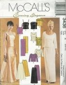 An original ca. 2001 McCall's Pattern 3436.  Misses'/Miss Petite Lined Tops, Skirts and Stole:  Lined tops have princess seams and back button closure; top A has three-quarter sleeves and optional trim; top B is sleeveless and has princess seam notches; top C has gathered straps; top D has optional jeweled straps; top E has lace trim; skirt F or G has waistband and back zipper; skirt G has left side slit and front and back darts.