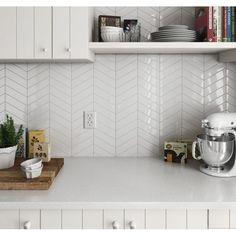 Chevron White Gloss 31.8cm x 22.4cm Wall & Floor Mosaic