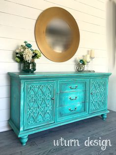 Sold Teal buffet / entryway/ tv consol by UTurnDesign on Etsy