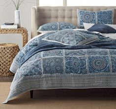 Catalina Quilt / Sham - Inspired by the tile work found in Portugal's architecture, elaborate medallions pattern our quilt in beautiful shades of blue—from sky to navy to indigo. Printed on pure cotton, this original design shifts beautifully from beachy to bohemian.