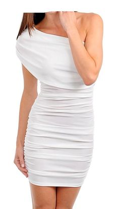 Off White One Shoulder Stretch Bodycon Party Dress Cocktail Fashion Pleat Dress #Fashion #OneShoulder #Casual