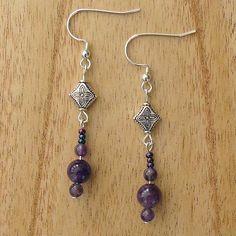 Handmade Beaded Earrings | Amethyst Beaded Earrings: Handmade