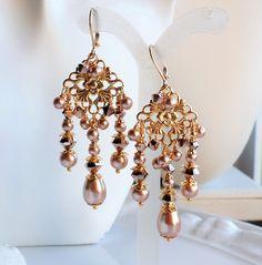 Pastel Green Swaovski Pearl Gold Filigree Chandelier Earrings ...