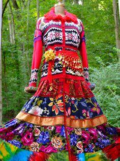 Gypsy style patchwork sweater COAT/DRESS.  Size door amberstudios