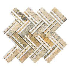 MatrixStoneUSA Quilt Moore Random Sized Marble Mosaic Tile in White/Yellow Marble Mosaic, Stone Mosaic, Mosaic Glass, Mosaic Tiles, Wall Tiles, Mosaics, Ceramic Subway Tile, Glass Subway Tile, Herringbone Pattern