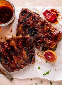 Blood Orange BBQ Ribs with Avocado Butter Greens