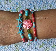 Coral Jewelry, Beach Jewelry, Bohemian Jewelry, Turquoise Glass, Coral Turquoise, Beach Bracelets, Stretch Bracelets, Green Gifts, Strand Bracelet