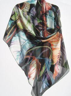 BANANA LEAVES Silk Wrap Colorful Giant Handpainted Foliage