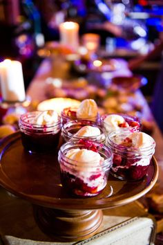 Cobbler a'la mode served in small mason jars - instead of traditional cake!  (love this.)