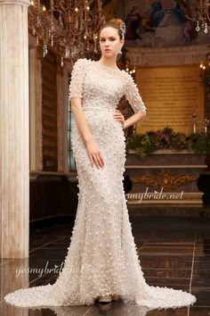 Perfect Beaded Off-white Evening Gown with Illusion Half Sleeves