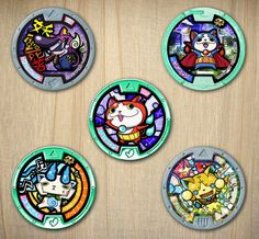 This listing is for an instant download of 5 different 2 inch Yo-kai Watch medal circles. Perfect for making cupcake toppers with.  Each circle can