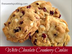 White Chocolate Cranberry Cookies: Perfect for Christmas Hostess Gifts! -- by The Sweet Spot Blog  #giftideas #recipes #holidays