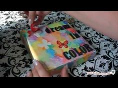 Easy Watercolor Canvas with Sticker Mask by MadebyMarzipan blog - I wonder if I can do this on gesso in an art journal? must try.