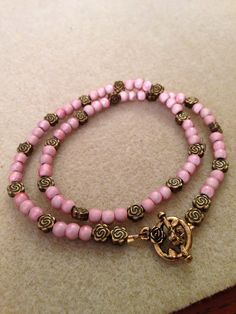 Double wrapped pink rose bracelet.