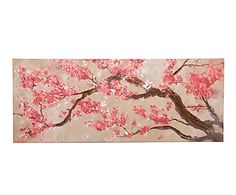 Lienzo sobre madera Flores, ocre, rosa y blanco - 150x60 cm Cherry Blossom Decor, Blossom Trees, Chinese Theme, Chinese Art, Feature Wall Bedroom, Oriental, Home Living, Painting Inspiration, Flower Art