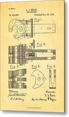 32 X 48 Beard Railroad Coupler Patent Art 1897 Metal Print By Ian Monk