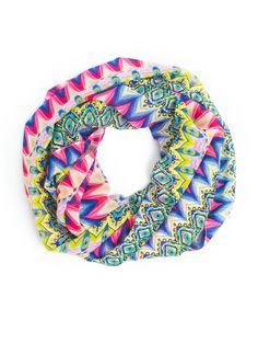 """- Fun Tribal Aztec Print Soft Chiffon Infinity - 100% Polyester - Soft semi sheer Chiffon Fabric - Wash Cold - Infinity Scarf,17"""" wide X 60"""" around, soft and light - Light Weight Scarf, a great layer"""