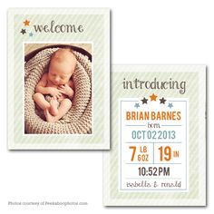 Welcome Star - Baby Announcement card template available through Jen Boutet Photography with your newborn portrait session in Charlottesville, Va.   www.jenboutet.com